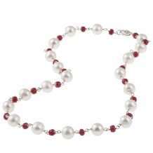 Sterling Silver Freshwater Pearl and Ruby Necklace (8-8.5 mm)
