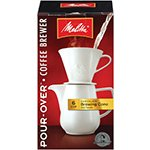 Melitta Coffee Makers Pour-Over Coffee Brewer Cone with Carafe, Porcelain 6 cup (a)
