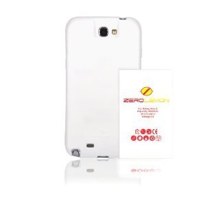 [180 days warranty] ZeroLemon Samsung Galaxy Note II 9300mAh Extended Battery + Free White Extended TPU Full Edge Protection Case - WORLD'S HIGHEST NOTE 2 BATTERY CAPACITY - White