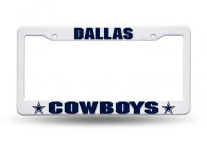NFL Dallas Cowboys Plastic License Plate Frame, 12 x 6 x .25-Inch, White