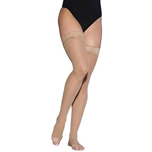 Sigvaris Ever Sheer Thigh High 20-30mmHg Women's Open Toe Short Length, Medium Short, Natural
