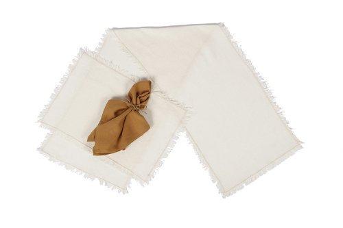 Tobacco Cloth Antique White Runner Fringed 13x48