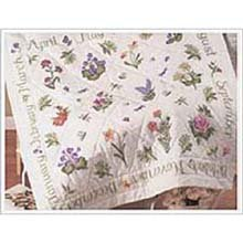 Bucilla 43288 Year of Flowers Stamped Cross Stitch Lap Quilt, 40-Inch by 40-Inch
