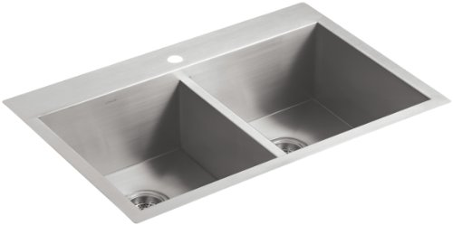 KOHLER K-3820-1-NA Vault Double-Equal Kitchen Sink with Single-Hole Faucet Drilling