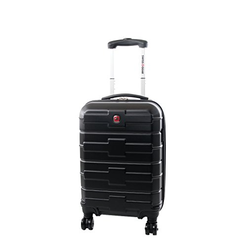 Swiss Gear Cross Collection 20-Inch Upright Expandable 8 Wheel Spinner, Black, International Carry-On