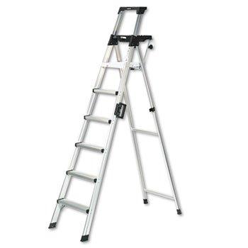 Cosco 2081AABLD - Eight-Foot Lightweight Aluminum Folding Step Ladder w/Leg Lock & Handle, 300lb