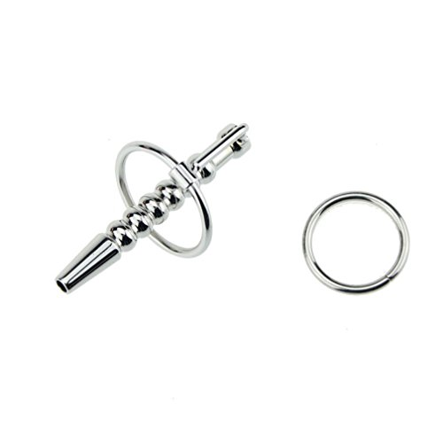 FST Hollow Stainless Steel Urethral Stretcher Penis Plug with 2 Glans Ring for Man(Sliver)
