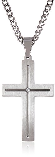Men's Stainless Steel Cross Necklace with Diamond Accent, 24