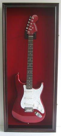 Electric / Fender Guitar Display Case Cabinet Wall Hanger Rack, Lockable Door, Mahogany (GTAR2(R)-MA)