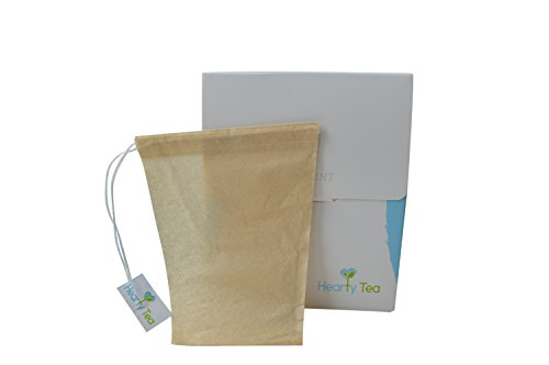 Tea Filter Bags with Drawstring - 100 pack Disposable Tea Infuser Bags - Biodegradable & Chlorine Free