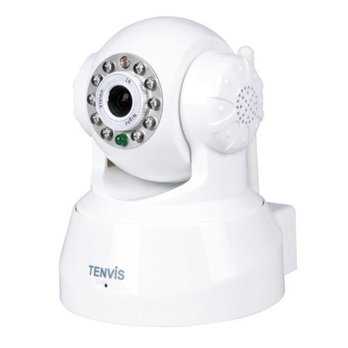 TENVIS NEW MODEL TR3828-P2P Wireless Pan/Tilt IP Camera Night Vision IR LED Off(WHITE)