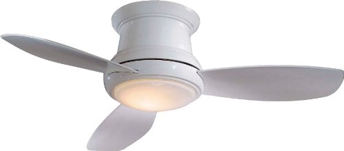 Minka-Aire F519-WH, Concept II White Flush Mount 52 Ceiling Fan with Light & Remote Control
