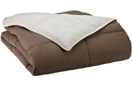 Oversized all-season Luxurious Down Alternative Comforter, King, Ivory/Taupe