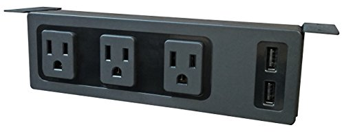 Under The Desk/Table Power Center - 3 Outlets & 2 USB Ports