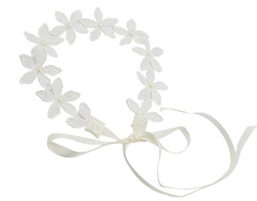 BONAMART ® Women Bridal Lace Flower Pearl Elastic Headband Hair Band Chain