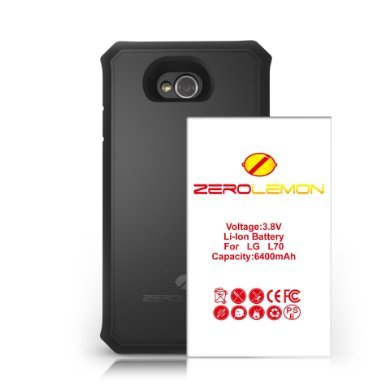 [180 Days Warranty] ZeroLemon® LG L70 6400mAh Extended Battery + Free Black Extended TPU Full Edge Protection Case, World's Highest LG L70 Capacity Battery with World's Only TPU Back Cover Combo Case.