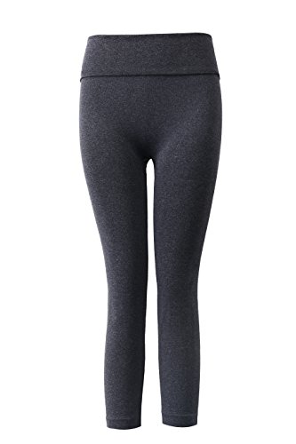 Aaronano Women's Slim Yoga Pants with Fold Over Solid Waistband Dark Grey,M/L