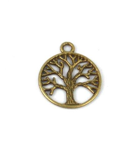 50PCS LIFE OF TREE Design Round Metal Charm Pendents (Antiqued Bronze)