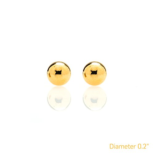 Ball Stud Earrings for Women & Men LG, USA Made LIFETIME WARRANTY 24K Gold Plated Fashion Jewelry Studs