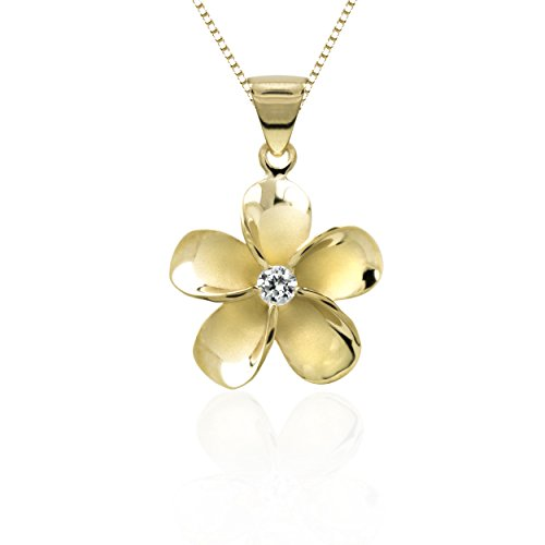14k Gold Plated Sterling Silver CZ Plumeria Pendant Necklace with 18 Box Chain