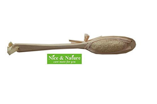 Natural Wood Loofah SPA Hand Bath Shower Foot Fingure, Natural Loofah with Long Handle Foot Scrub Massage, Healthcare Foot Cleaning Brush, Health Original Ancient Art for Circulation Glowing Skin
