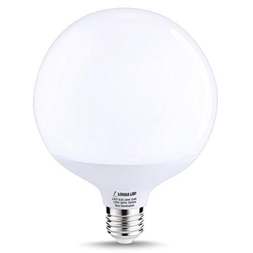 LOHAS G40 LED Globe Bulb, 20Watt(200W Equivalent) Edison Style LED Globe Lights, Daylight White 5000K, E26 Socket Decorative Globe Light Bulb, 270 Degree Beam Angle