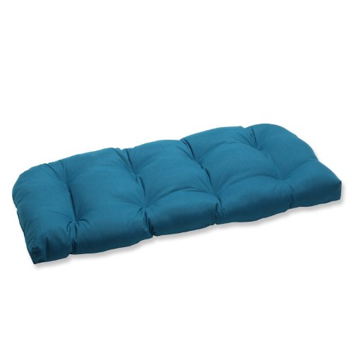 Pillow Perfect Wicker Loveseat Cushion with Sunbrella Spectrum Peacock Fabric