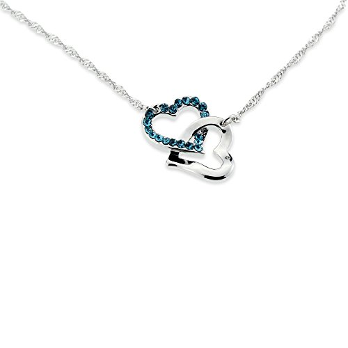 Silver Double Hearts Light Blue Green Crystal Jewelry Pendant Girlfriend Necklace Best for Valentines Day