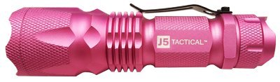 J5 Tactical V1 Pro Pink Tactical Flashlight - The Original 300 lm Ultra Bright, LED 3 Mode Flashlight, Pink