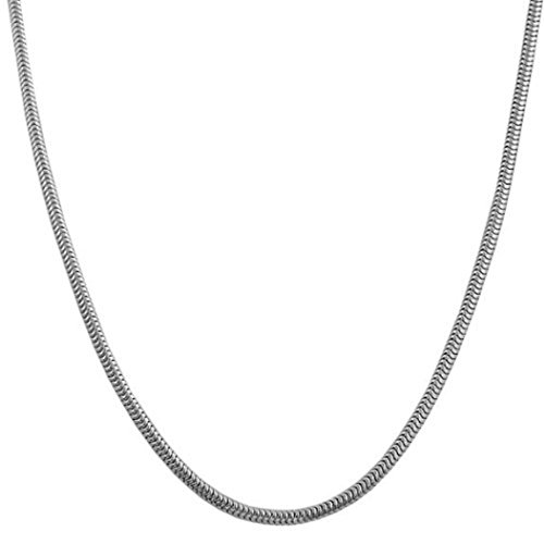 Silver 18 Inch Necklace Chain for Women Girls - 18 Serpentine Snake Cobra Chain Rope Cord