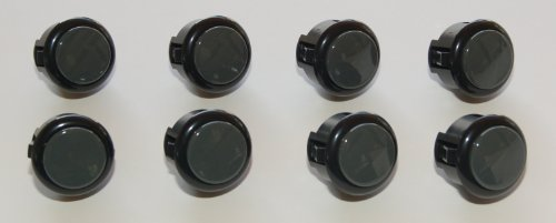 8 pc Set of Black / Dark Grey Sanwa Push Buttons OBSF-30-B