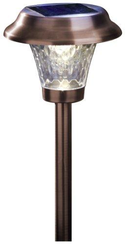 Moonrays 91762 Alexa Style Solar Light, Metal Path Light, LED is 6X-Brighter, Bronze, 4-Pack
