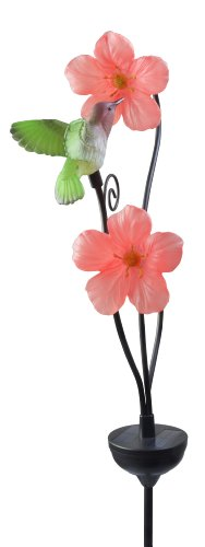 Moonrays 92548 Solar-Powered Hummingbird with Pink Hibiscus Flowers Garden LED Metal Stake Light