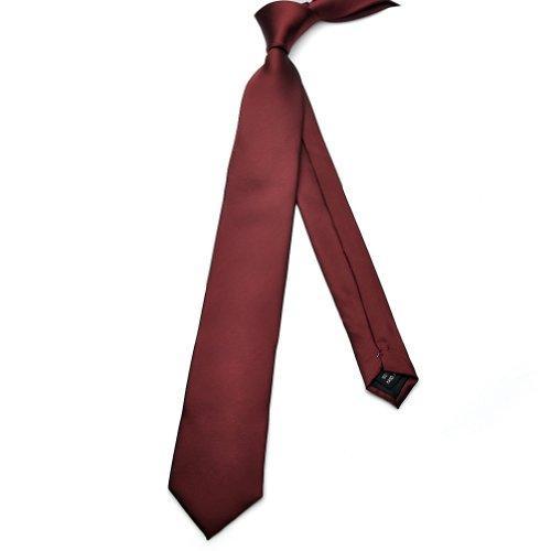 PenSee Mens Skinny Ties 100% Polynester Silk Burgundy Solid Necktie