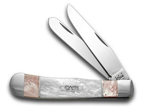 CASE XX Pink Pearl and White Pearl Split Handle Trapper Pocket Knife Knives