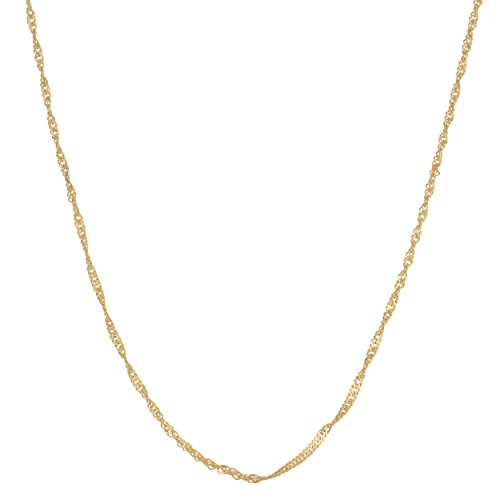 14k Yellow Gold 1mm Adjustable Length Singapore Chain (13 to 15 inch)