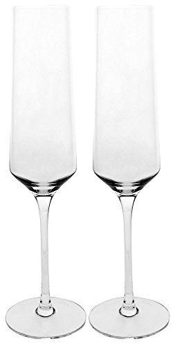Best Champagne Flute Set by Bella Vino - Beautifully Designed Short Stem Glasses Flutes - Made from 100% Lead Free Premium Quality Crystal Glass - Perfect for any special event or Champaign - Cristal Dom Perignon Chandon Moet