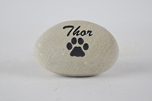 Pet Memorial Headstone Grave Marker - Natural Stone River Rock Sandblast Engraved with Your Pets Name and a Paw Print for Dog or Cat 3 to 4