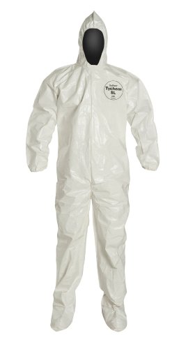 DuPont Tychem SL SL122B Disposable Coverall with Hood and Boots, Bound Seams, Elastic Cuff, White, Medium (Pack of 12)