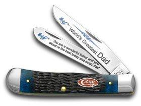 CASE XX Jigged Blue Bone World's Greatest Dad 1/600 Trapper Pocket Knife Knives