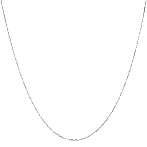 Solid 14k White Gold 0.8mm Rope Chain (16 inch)