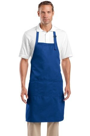 CornerStone Three Patch Pockets Adjustable Bib Apron, Royal, One Size