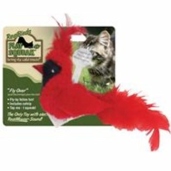 OurPets Play-N-Squeak Real Birds Fly Over Interactive Cat Toy