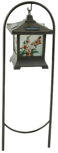 Moonrays 91255 Solar Powered Stained Glass Butterfly Lighting Fixture