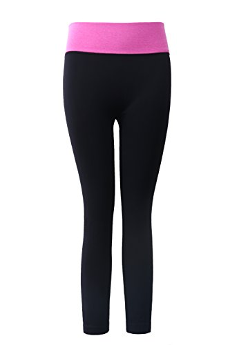 Aaronano Women's Slim Yoga Pants with Fold Over Solid Waistband