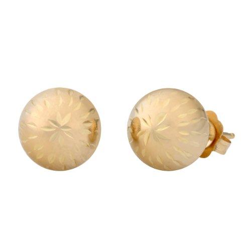 14k Yellow Gold 8mm Diamond-Cut Ball Earrings