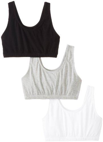 Fruit of the Loom Women'sBuilt-Up Sportsbra, Black/White/Heather Grey, Size 42(Pack of 3)