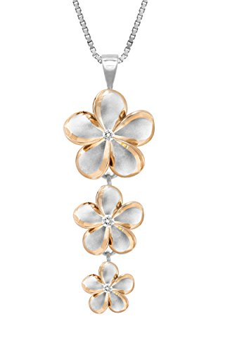 Sterling Silver with 14k Rose Gold Plated Trim Three Plumeria CZ Necklace with 18 Box Chain