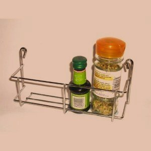 1 tier 200mm Strong one tier Chrome Spice jar packet rack holder - fits onto small kitchen cupboard doors, wall mounted