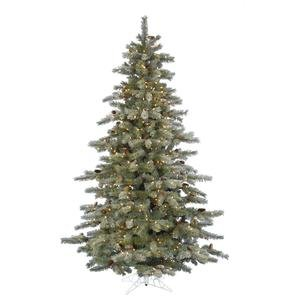 4.5 ft. Artificial Christmas Tree - High Definition Pine Needles and Cones - Frosted Sartell - Prelit with Clear Mini Christmas Lights - Vickerman A111446